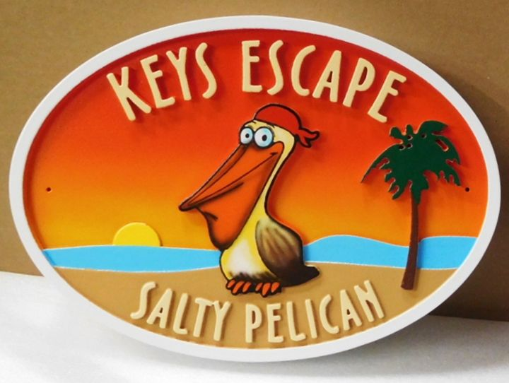 """L21626 - Carved Seashore Home Name Sign , """"Keys Escape, Salty Pelican"""", with  Ocean,  Setting Sun,  Palm Trees , and  Comical Pelican."""