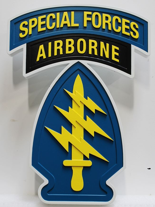 MP-1887 - Carved HDU Wall Plaque of the Insignia of a Special Forces  Airborne Unit, US Army