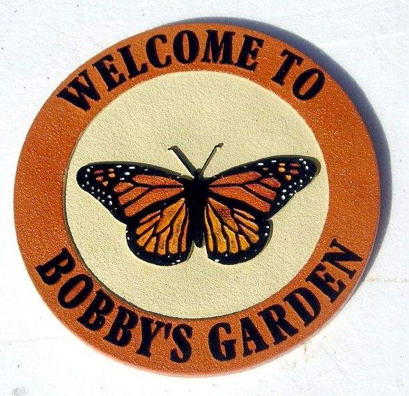 GA16714 - Wooden Garden Sign with Monarch butterfly