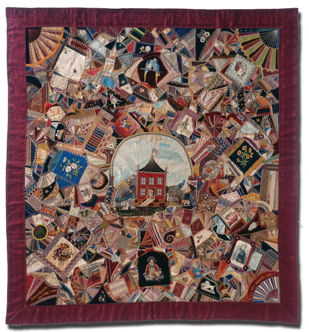 Crazy (My Crazy Dream), Made by Mary M. Hernandred Ricard, Made in Boston and Haverhill, Massachusetts, United States, Dated 1877-1912, 74 x 68.5 in, IQSC 1997.007.0541