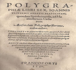 "A 1550 edition of Trimethius' ""Polygraphia"" (first published in 1516) - donated to the NCMF by Dr. David Kahn"
