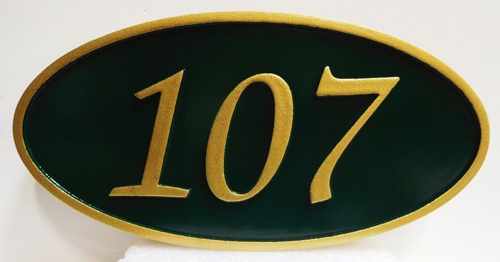 Y29185 - Carved High-Density-Urethane (HDU) Room Number Plaque, 2.5-D Raised Numbers and Border