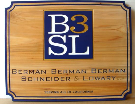 A10019 - Engraved Natural Cedar Law Sign with Firm's Logo