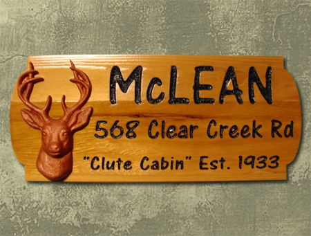 M22621 - Cabin Name and Address Rustic Wood Sign with Carved Deer Head