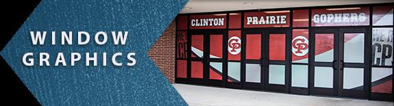 Window Graphics example link, exterior doors covered in graphics, school graphics, window graphics