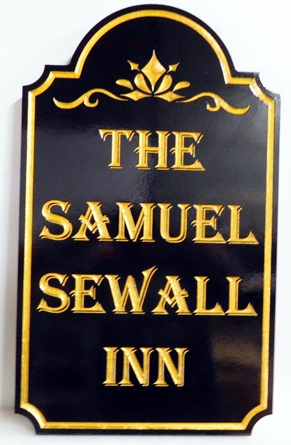 """T29052 - - Elegant Engraved V-Carved  HDU sign for the """"Samuel Sewall Inn"""", with 24K Gold-Leaf Gilding"""