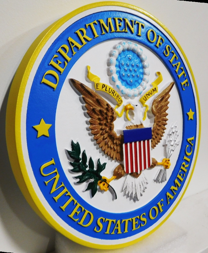 AP-3644- Carved Plaque of the Seal of the United States State Department, Artist Painted (Side View)