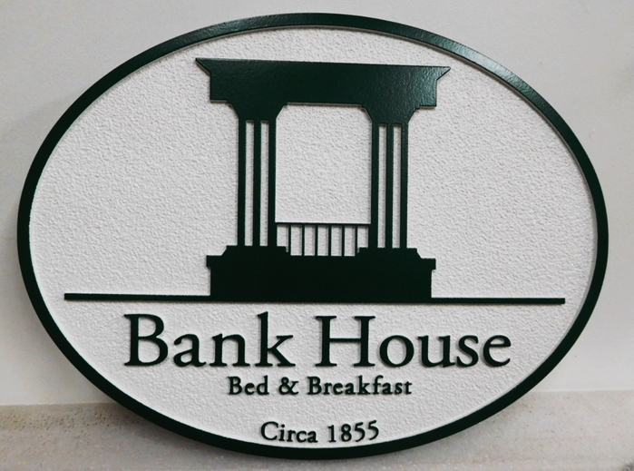 "T29155 -  Carved and Sandblasted S ign made for the ""Bank House"" Bed & Breakfast (B&B), 2.5-D Artist-Painted"