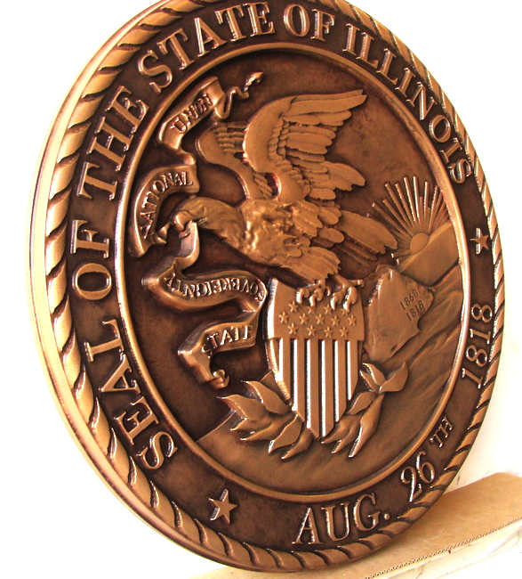 W32184A - 3D Bronze Plaque of the Great Seal of the State of Illinois (side view)