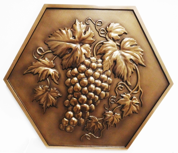 M7013 - 3-D Bronze-plated Plaque for a winerywith Cluster of Grapes