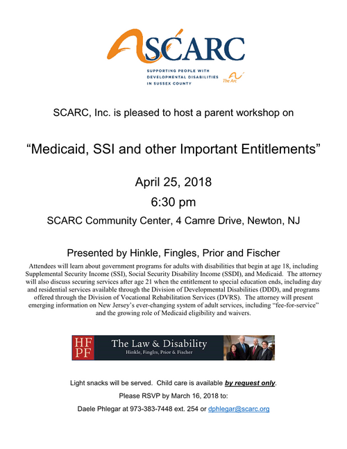 Medicaid, SSI and other Important Entitlements (The Arc of Sussex, SCARC)