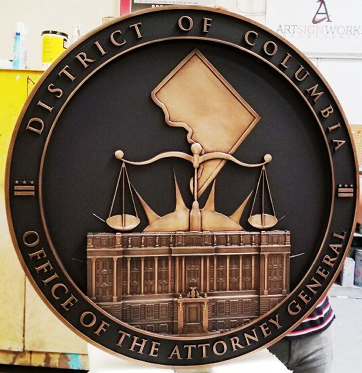 AP-2370 - Carved Plaque of the Seal of the Office of the Attorney General, District of Columbia, 3-D Bronze-Plated, Black Background