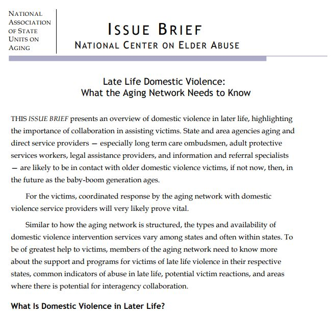 Late Life Domestic Violence: What the Aging Network Needs to Know