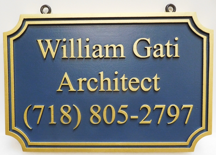 "SA28068 - Carved Hangoing Sign for the ""William Gati Architect"" Business, 2.5-D"