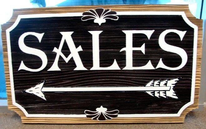 "SA28533 -   Sandblasted Redwood Sign for the  ""Cripple Creek Rock Company"" with Directional Arrow"