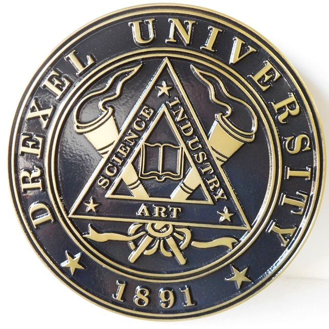 Y34308 - Carved Brass-Coated Round Wall Plaque of the Great Seal of Drexel University