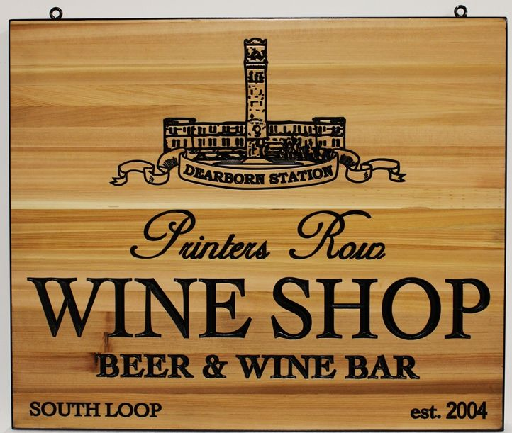 R27307 - Engraved  Wood Wine Shop Plaque, with Building as Artwork