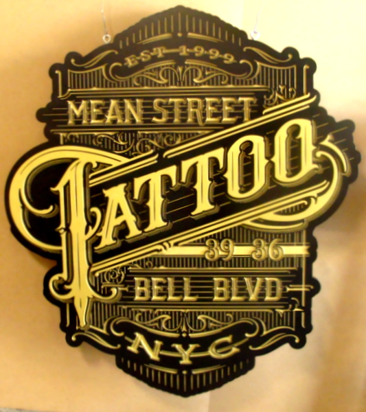 S28078 - Elaborately Carved Window Sign for Tattoo Parlor with Victorian Design