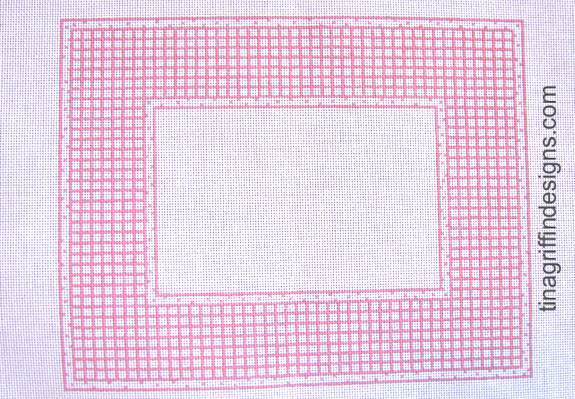 Pink and White Check Frame