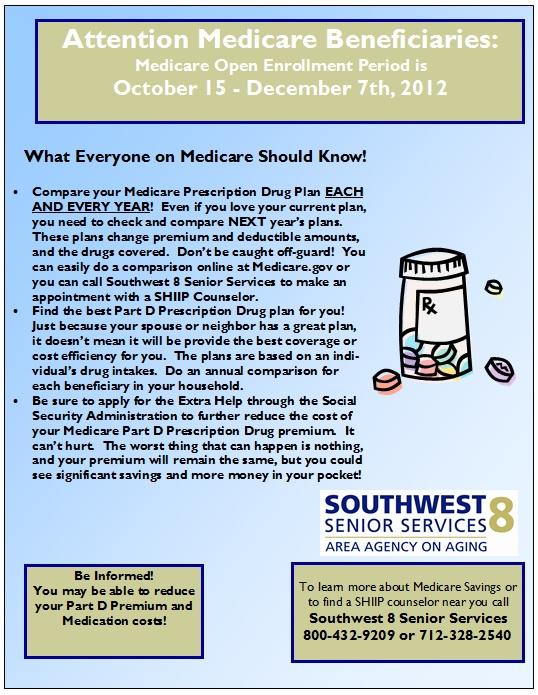 Open Enrollment Period is 10/15 - 12/7