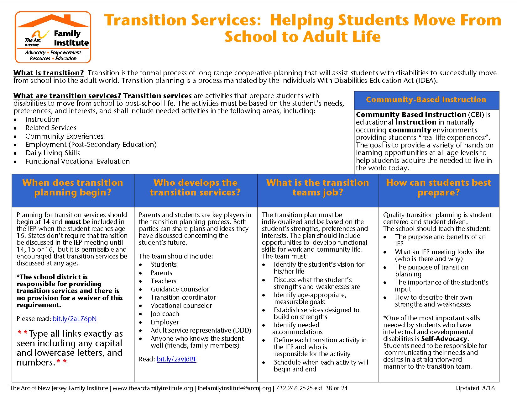 Transition Services:  Helping Students Move From School to Adult Life