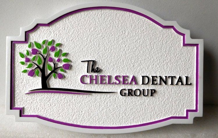 "BA11544 - Carved and Sandblasted Sign for the Office of ""The Chelsea Dental Group"" , 2.5-D raised Relief, Artist-Painted"