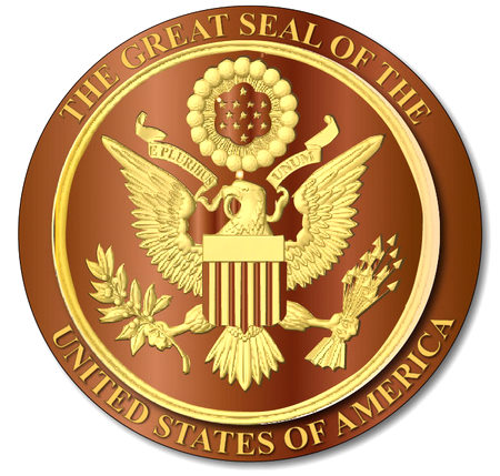 U30050 - Gold on Stained Mahogany Carved 3D Great Seal Wall Plaque