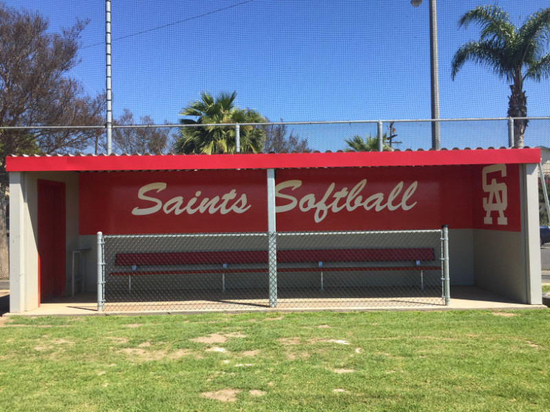 Softball dugout vinyl wraps for schools in Orange County CA