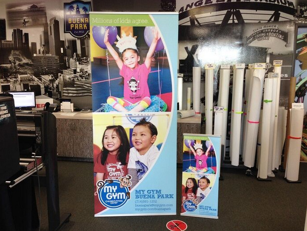 Retractable banner stands for childcare centers Orange County