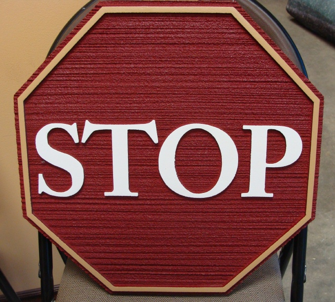 KA20669 -Sandblasted, Carved Wood Grain HDU Stop Sign