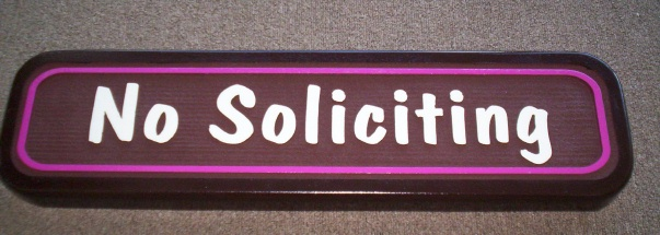 "KA20740 - Carved ""No Soliciting"" Sign"