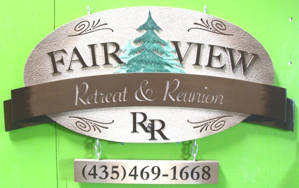 M22088 - Sign for Retreat and Reunion, Spruce Trees