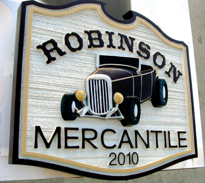 SA28506 - Carved and Sandblasted Wood Grain Texture Sign for Merchantile Store with 3-D Model-T Ford.