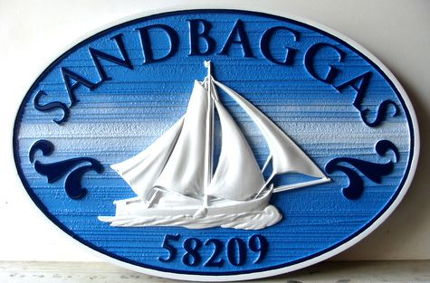 "L21308 - Carved Property Name & Address Sign ""Sandbaggas"", with Gaff-Rigged Cutter Sailboat"