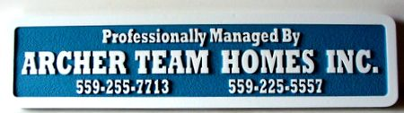 "SA28611 - Sandblasted HDU Sign for House General Contractor, ""Archer Team Homes, Inc."""