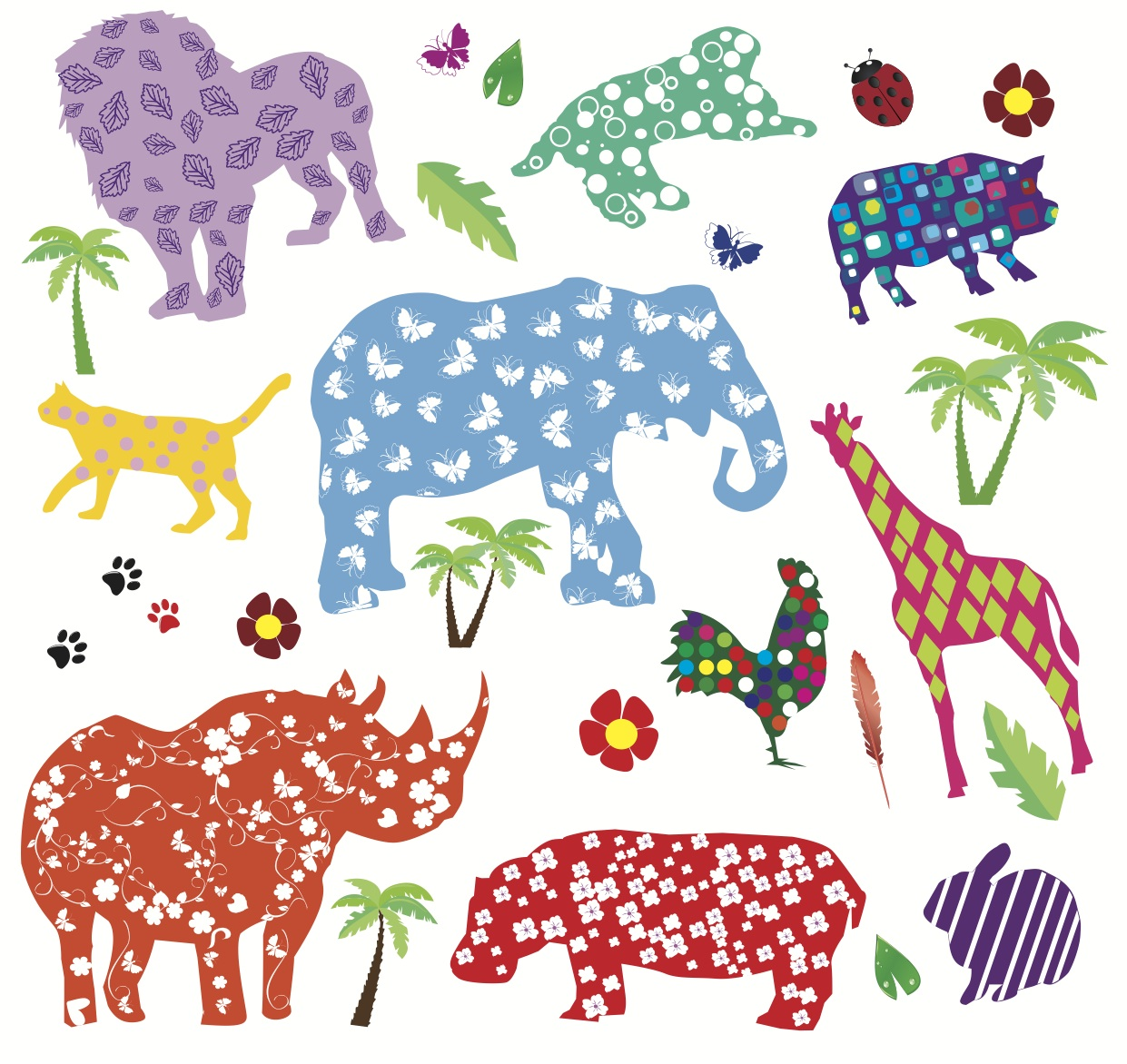 Flowery Animals Wallpaper
