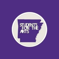 Students for the Arts Logo: UCA Chapter. A purple silhouette of the state of Arkansas sits in a gray circle on a purple back ground.