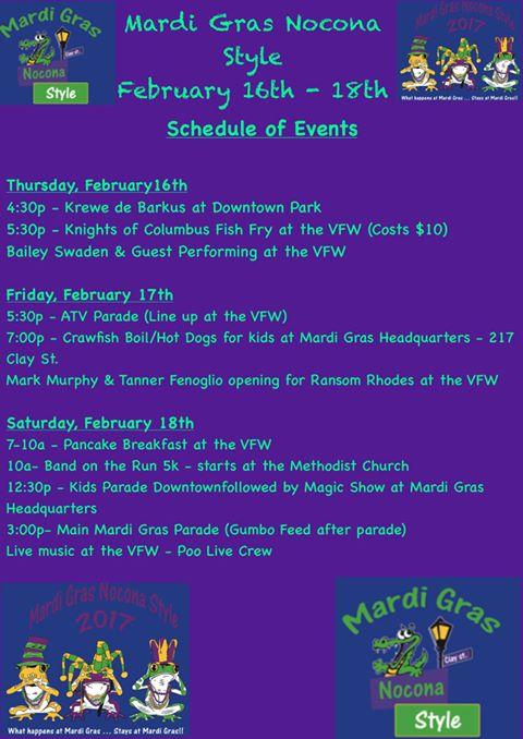 2017 Mardi Gras Schedule