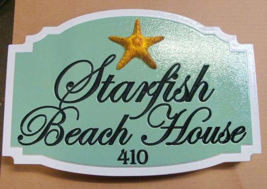 """L21508 -  Engraved """"Starfish Beach Home"""", with 3-D Carved Starfish"""