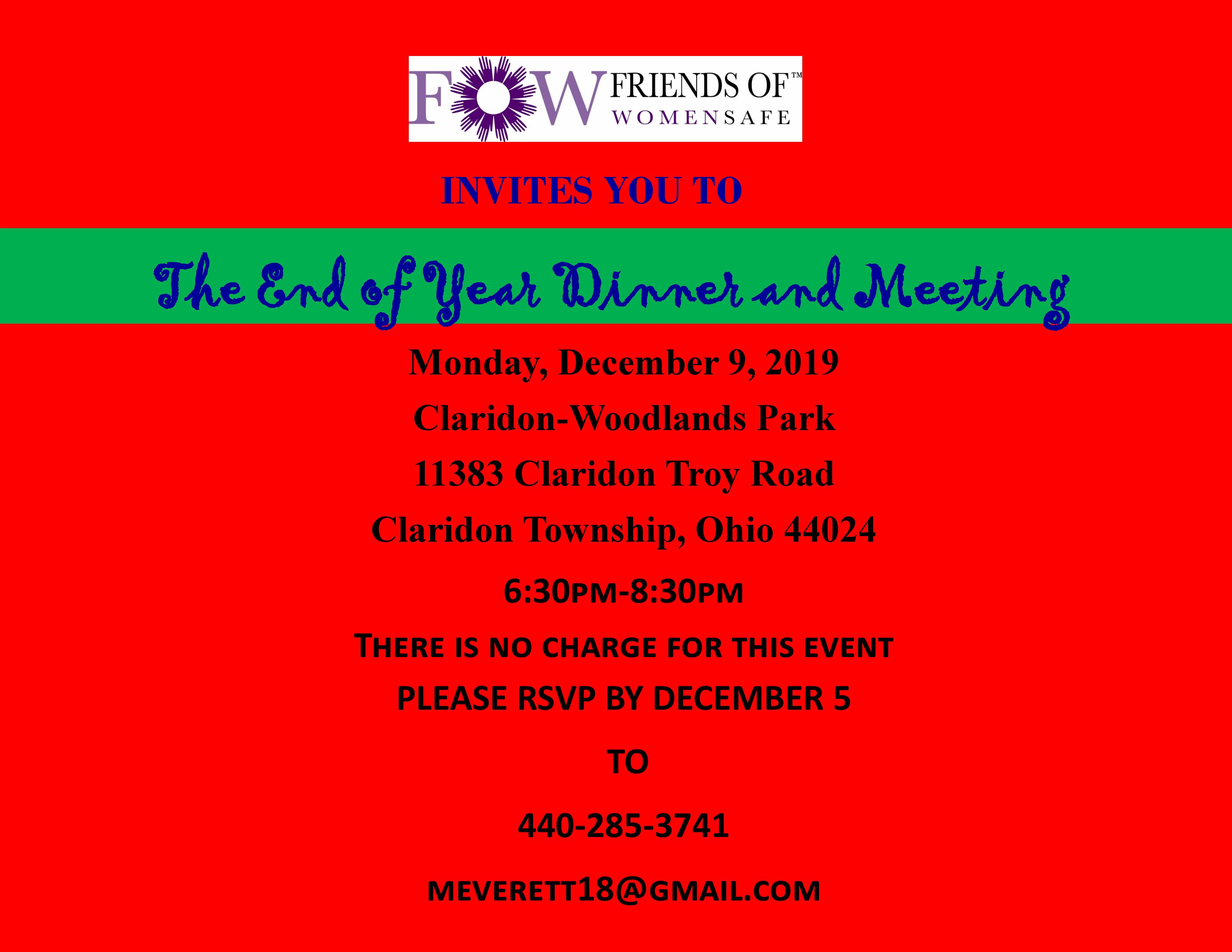 Friends of WomenSafe Year End Dinner & Meeting