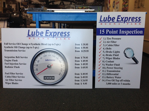 Service Menu Signs for Auto Repair Shops in Orange County