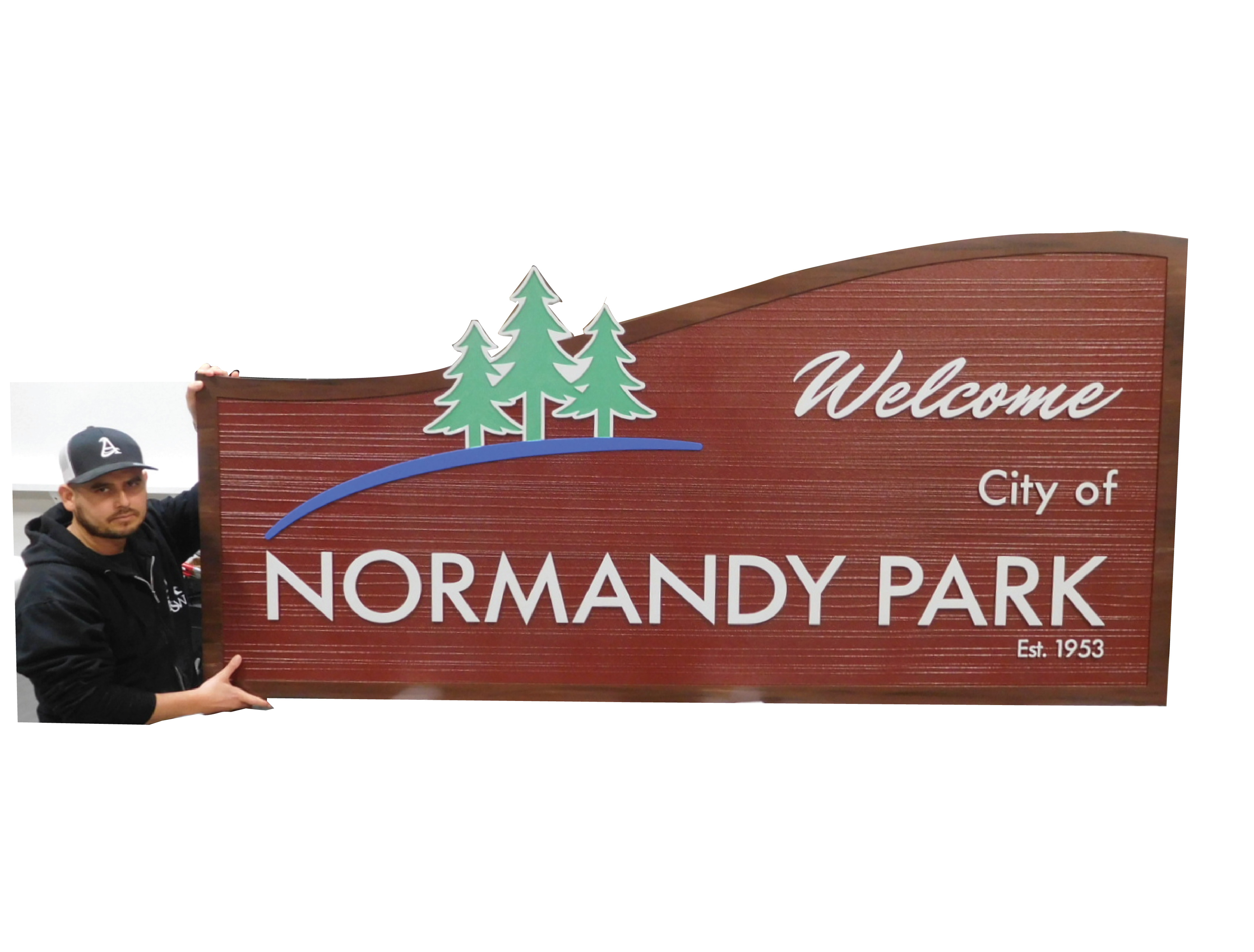 F15340 - Carved and Sandblasted Wood Grain  Entrance and Welcome  Sign  for Normandy Park, 2.5-D with Pine Trees as Artwork