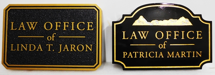 A10209 - Two Law Office Signs Giving Attorney Name, One with Gold Paint and the Second with 24K Gold-Leaf Gilt