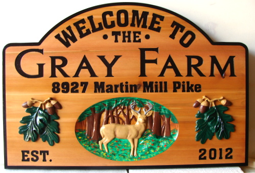 M22618 - Carved Cedar Gray  Farm Sign with 3-D Art of Deer in Forest and Oak Leaf Clusters