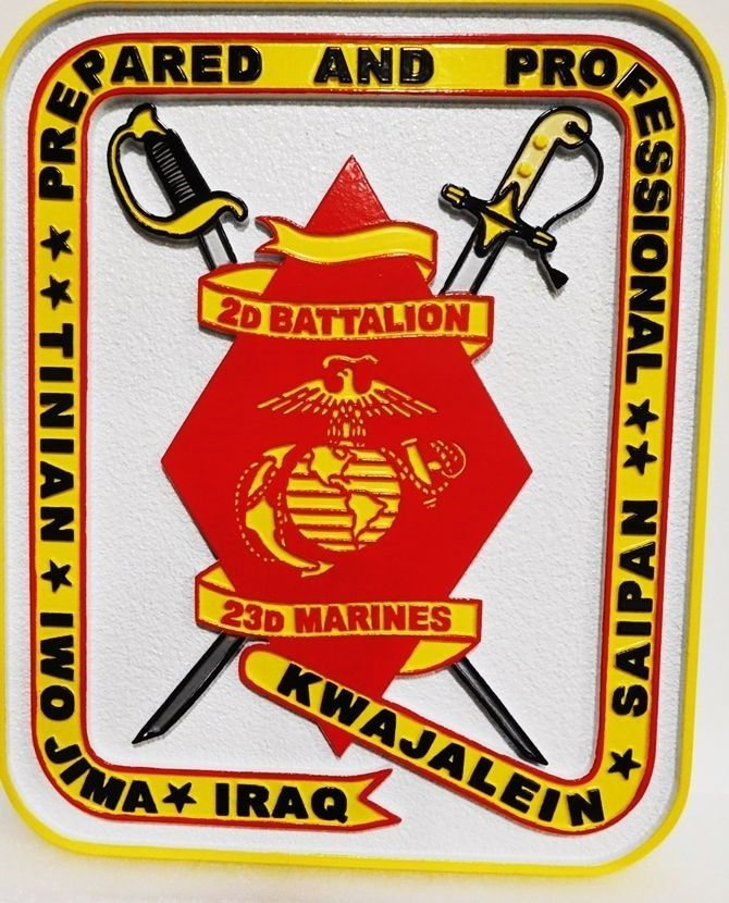 V31415 - Carved 2.5-D  HDU Plaque for the 2nd Battalion, 23rd Marines, with Crossed Swords and USMC Emblem as Artwork