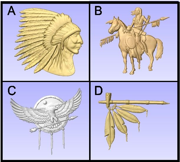 O24996 - Carved 3-D Wood Appliques of Native American Symbols (Indian Chief, Warrior, Eagle Shield, Peace Pipe)