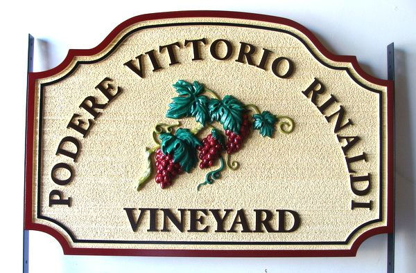 "R27069 - Carved HDU Vineyard Entrance Sign, "" Podere Vittorio Rinaldi Vineyard"""