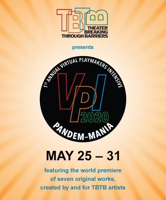 A picture of the new logo of TBTB's 2020 first annual virtual playmakers intensive. The event name is Pandem-Mania and the logo has details at the bottom of it.