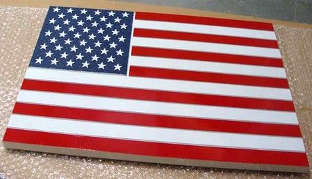 U30060 - Carved Wooden American Flag Wall Plaque