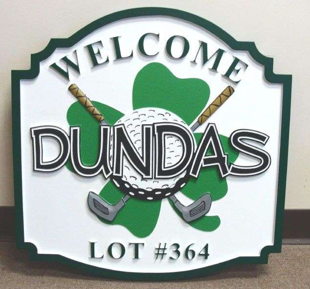"I18652 Carved Welcome Address Sign, ""Dundas"", with Golf Clubs, Golf Ball, and Shamrock"
